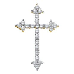 Womens Round Diamond Pointed Cross Crucifix Faith Pendant 1/4 Cttw 10kt Yellow Gold - REF-15N9F