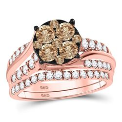 Womens Round Brown Diamond Bridal Wedding Ring Band Set 1-1/2 Cttw 14kt Rose Gold - REF-98Y5N