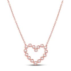 Womens Round Diamond Outline Heart Necklace 1/4 Cttw 14kt Rose Gold - REF-32A5M