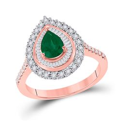 Womens Oval Emerald Diamond Teardrop Ring 7/8 Cttw 14kt Rose Gold - REF-52M9H