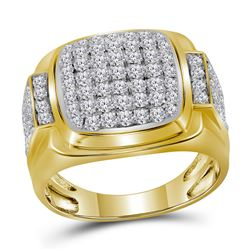Mens Round Diamond Square Cluster Ring 2 Cttw 10kt Yellow Gold - REF-98R5X