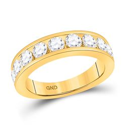 Womens Round Diamond Wedding Single Row Band 1-3/4 Cttw 14kt Yellow Gold - REF-164M5H