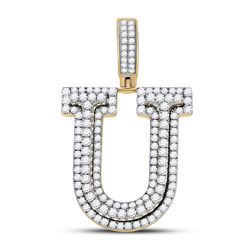 Mens Round Diamond Letter U Charm Pendant 1-7/8 Cttw 10kt Yellow Gold - REF-91N9F