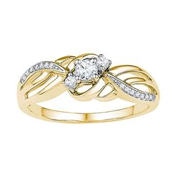 Round Diamond 3-stone Bridal Wedding Engagement Ring 1/4 Cttw 10kt Yellow Gold - REF-23M5H