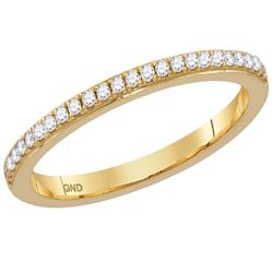 Womens Round Diamond Single Row Stackable Band Ring 1/8 Cttw 14kt Yellow Gold - REF-19W5K