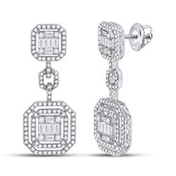 Womens Baguette Diamond Octagon Dangle Earrings 1-1/2 Cttw 14kt White Gold - REF-120H5R