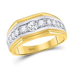 Mens Round Diamond Graduated Band Ring 1 Cttw 10kt Two-tone Gold - REF-97X5A