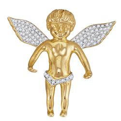 Mens Round Diamond Angel Wings Cherub Charm Pendant 1/2 Cttw 10kt Yellow Gold - REF-38W9K
