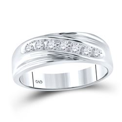 Mens Round Diamond Wedding Single Row Band Ring 1/4 Cttw 10kt White Gold - REF-22F5W