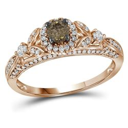Round Brown Diamond Solitaire Bridal Wedding Engagement Ring 3/4 Cttw 14kt Rose Gold - REF-63M9H