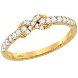 Womens Round Diamond Infinity Knot Stackable Band Ring 1/4 Cttw 10kt Yellow Gold - REF-18W9K