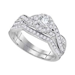 Round Diamond Bridal Wedding Ring Band Set 1/4 Cttw 14kt White Gold - REF-85A9M