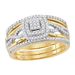 Round Diamond Bridal Wedding Ring Band Set 3/8 Cttw 10kt Yellow Gold - REF-38K9Y