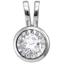 Womens Round Diamond Solitaire Pendant 1/2 Cttw 14kt White Gold - REF-52H9R