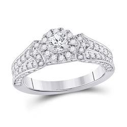 Round Diamond Halo Bridal Wedding Engagement Ring 1-1/5 Cttw 14kt White Gold - REF-115Y9N