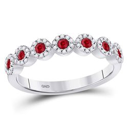 Womens Round Ruby Circle Stackable Band Ring 1/2 Cttw 10kt White Gold - REF-24H5R