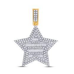 Mens Baguette Diamond Star Charm Pendant 3/4 Cttw 10kt Yellow Gold - REF-37H9R