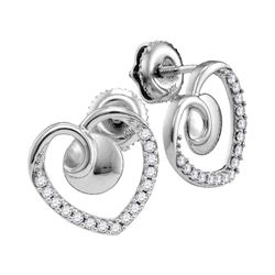 Womens Round Diamond Heart Earrings 1/4 Cttw 10kt White Gold - REF-13K9Y
