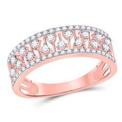 Womens Round Diamond Fashion Anniversary Ring 3/8 Cttw 14kt Rose Gold - REF-26K9Y