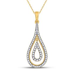 Womens Round Diamond Double Nested Teardrop Pendant 1/4 Cttw 10kt Yellow Gold - REF-17K5Y
