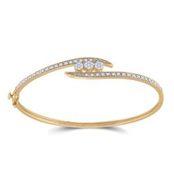 Womens Round Diamond Cluster Bangle Bracelet 1/2 Cttw 14kt Yellow Gold - REF-71M9H