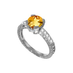 Genuine 1.80 ctw Citrine & Diamond Ring 14KT White Gold - REF-98F3Z