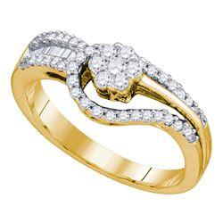 Round Diamond Flower Cluster Bridal Wedding Engagement Ring 1/2 Cttw 10kt Yellow Gold - REF-37K5Y