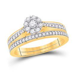 Round Diamond Bridal Wedding Ring Band Set 1/2 Cttw 10kt Yellow Gold - REF-38K9Y
