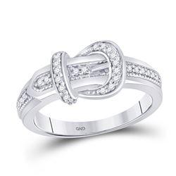 Womens Round Diamond Belt Buckle Band Ring 1/5 Cttw 10kt White Gold - REF-22R5X