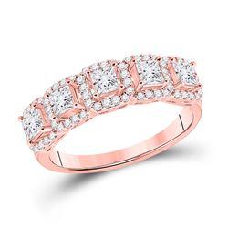Womens Princess Diamond 5-Stone Anniversary Ring 1 Cttw 14kt Rose Gold - REF-85R9X