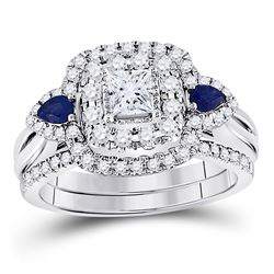 Princess Diamond Bridal Wedding Ring Band Set 7/8 Cttw 14kt White Gold - REF-104H9R