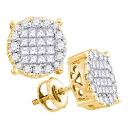 Womens Princess Round Diamond Cluster Earrings 1 Cttw 14kt Yellow Gold - REF-71W9K