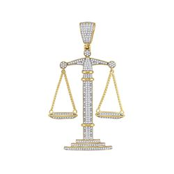 Mens Round Diamond Scales of Justice Charm Pendant 1 Cttw 10kt Yellow Gold - REF-54R5X