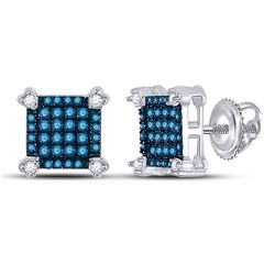 Womens Round Blue Color Enhanced Diamond Square Cluster Earrings 1/4 Cttw 10kt White Gold - REF-13H9