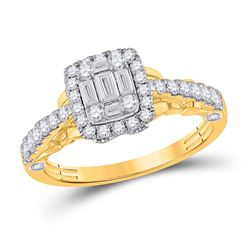 Womens Baguette Diamond Square Ring 3/4 Cttw 14kt Yellow Gold - REF-65A5M