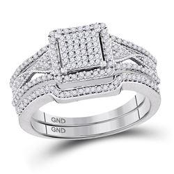 Diamond Cluster Bridal Wedding Ring Band Set 3/8 Cttw 10kt White Gold - REF-35H5R