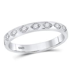 Womens Round Diamond Flush Diamond Shape Band Ring 1/5 Cttw 10kt White Gold - REF-20X9A