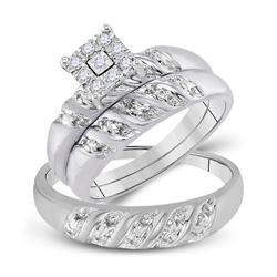 His Hers Round Diamond Cluster Matching Wedding Set 1/8 Cttw 10kt White Gold - REF-28Y5N