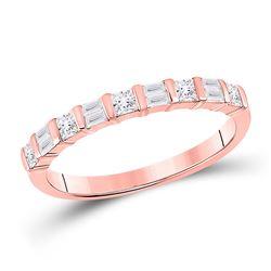 Womens Baguette Princess Diamond Anniversary Ring 1/2 Cttw 14kt Rose Gold - REF-32H9R