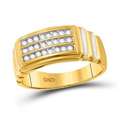 Mens Round Diamond Triple Row Band Ring 1/4 Cttw 10kt Yellow Gold - REF-25X5A