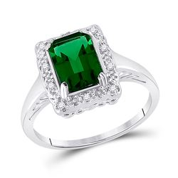 Womens Emerald Lab-Created Emerald Solitaire Ring 1-4/5 Cttw 10kt White Gold - REF-18A9M