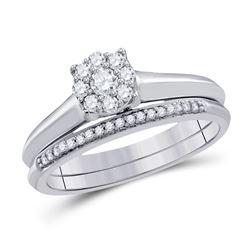 Round Diamond Bridal Wedding Ring Band Set 1/3 Cttw 10k White Gold - REF-31K9Y
