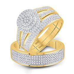 His Hers Round Diamond Cluster Matching Wedding Set 3/4 Cttw 14kt Yellow Gold - REF-63W9K
