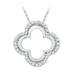 Womens Round Diamond Quatrefoil Cutout Pendant 1/8 Cttw 10kt White Gold - REF-8Y9N