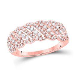 Womens Round Diamond Timeless Anniversary Ring 5/8 Cttw 14kt Rose Gold - REF-34W5K