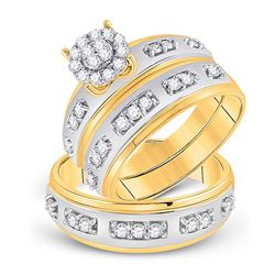 His Hers Round Diamond Cluster Matching Wedding Set 3/4 Cttw 10kt Two-tone Gold - REF-60K9Y