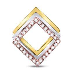 Womens Round Diamond Diagonal Square Fashion Pendant 1/6 Cttw 10kt Tri-Tone Gold - REF-14W9K