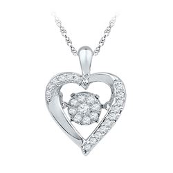 Womens Moving Twinkle Round Diamond Heart Pendant 1/6 Cttw 10kt White Gold - REF-15K9Y