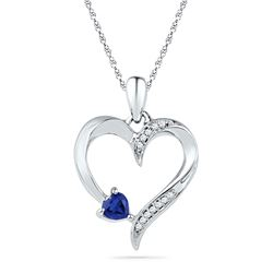 Womens Round Lab-Created Blue Sapphire Heart Pendant 1/20 Cttw 10kt White Gold - REF-9Y5N
