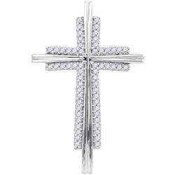 Womens Round Diamond Cross Religious Pendant 1/8 Cttw 10kt White Gold - REF-10K5Y